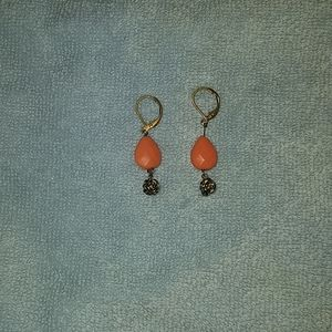 Coral colored stone earrings